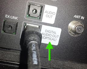digital audio optical cable on back of Samsung TV