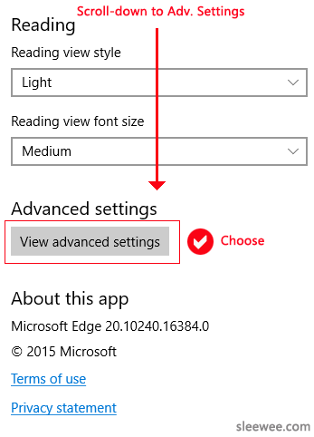 Edge Settings popout side panel, scroll-down to Advanced Settings and choose View advanced settings