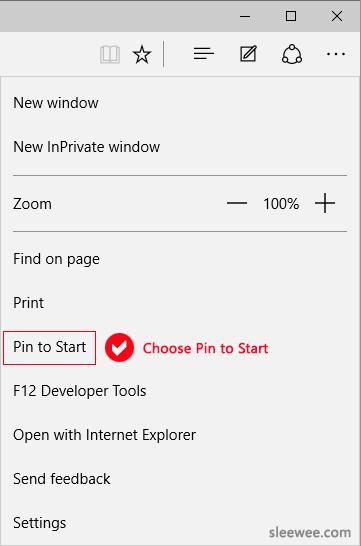 Edge Pin to Windows 10 Start Menu