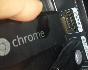 Plug Chromecast (or Chrome stick) into the HDMI port on your TV