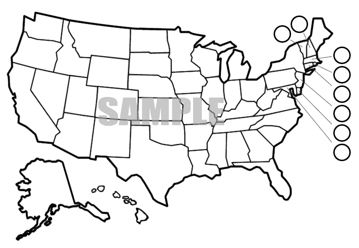 White Printable U.S. Map for Teachers